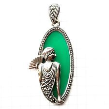 JADE STONE CAMEO LADY PENDANT w/ Marcasite Vintage Accents .925 STERLING SILVER
