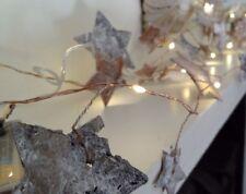 Natural Christmas LED Garland with  Birch Bark Stars, 190cm