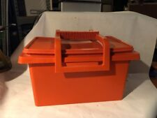 Tupperware With Lid And Handle-Sewing Box Lunch Box Tote Storage Orange