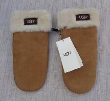 UGG Chestnut Water Resistant Sheepskin Leather MITTENS Gloves Brown L XL NEW