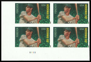 Scott 4697a - The 2012 Joe DiMaggio Issue, Imperforate Plate Block - Mint, NH