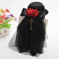 Women's Gothic Red Floral Key Pendant Black Lace Mini Hat Hair Clip Headwear
