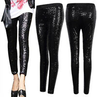 US Womens Stretchy Sequins Skinny Leggings Pants Glitter Metallic Trousers Black