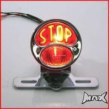 "Chrome Vintage ""STOP"" Universal Brake / Stop / Tail Light - Bulb Type"