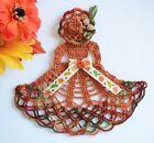 Fall+Crinoline+Lady+Hand+Crochet+Doily+%2F+Autumn+Orange+%2F+Fall+Variegate+