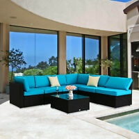 7PC Patio Rattan Wicker Sectional Sofa Set Garden Couch Lounge Outdoor Furniture