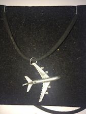 Airbus A380 C64 Aircraft Jet Airliner Pewter Pendant on a BLACK CORD Necklace