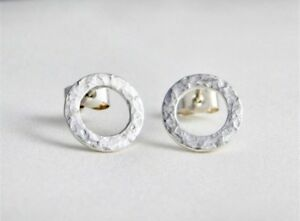 Solid Sterling Silver 925 Sparkly Hammered Open Circular Ear Stud Earrings 10mm