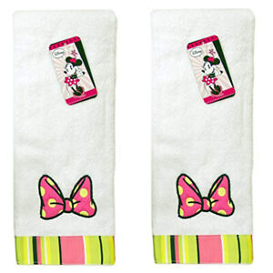 AUTHENTIC Disney Minnie Mouse Plush Cotton Hand Towel Bath Towel Franco (2 Pack)