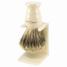 Edwin Jagger Imitation Ivory, Extra Large, Best Badger Shaving Brush + Stand