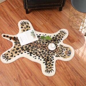 Leopard Grain Faux Fur Rug Hide Brown Soft Cushion Washable Bedroom Carpet Mats