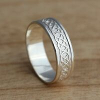 Solid 925 Sterling Silver Celtic Knot Band/Thumb Ring N-Z Sizes 7 mm Celtic Ring