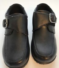 Youth Boys Black Dressy Shoes Hook & Loop Strap Closure Size 1