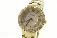 Fossil ES3283 Virginia Silver Dial Gold-Plated Bracelet Ladies Watch