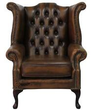 Chesterfield Armchair Queen Anne High Back Wing Chair Antique Tan Brown Leather