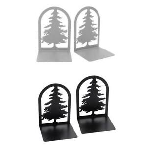 Hollow Pine Shape Desktop Nonskid Bookends Art Decorative Iron Desk Book End