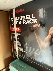 Weider 100LBS Dumbbell Set And Rack 5 8 10 12 15 pounds included
