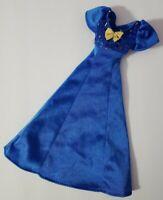 BARBIE DOLL CLOTHES BLUE LONG DRESS METALLIC TOP GOLD BOW GENUINE TAG FASHION