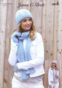 Womens Double Knit Knitting Pattern Hat Scarf & Gloves Set James Brett JB520