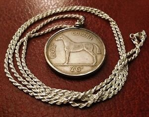 1939 Irish Handsome Silver Halfcrown Pendant on a 24 Italian silver rope chain