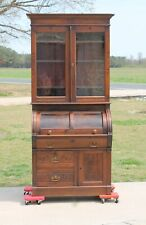 Victorian Eastlake Walnut Cylinderoll Secretary Desk Bookcase Top c1880's