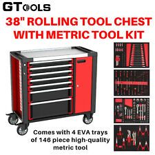 "7 Drawer Tool Chest Rolling Tool Trolley Work Station with Metric Tool Kit (38"")"