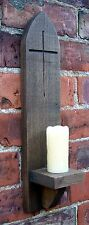 RUSTIC OAK, GOTHIC STYLE WALL SCONCE CANDLE HOLDER, CRUCIFIX DECORATION.