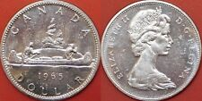 Brilliant Uncirculated 1965 Canada Small Beads & Pointed 5 Silver 1 Dollar