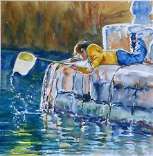 DORANNE ALDEN ORIGINAL Sunkissed Evening at Xlendi fishing WATERCOLOUR PAINTING