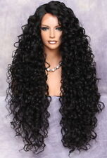Human Hair Blend Full Lace Front wig Long Curly Darkest brown Heat OK DOM 2