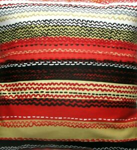 Red squiggly lines fabric cushion cover