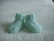 NEW Made in UK Handmade Small/Early Baby Reborn Socks/Bootees Mint green UNISEX