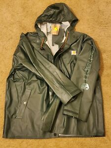 CARHARTT (sz L) WEATHERPROOF Button Snap Up RAIN WIND FISHERMAN JACKET OUTDOOR