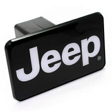"""Jeep Black White Logo Tow Hitch Cover Plug w/pin for Car-Truck-SUV 2"""" Receiver"""