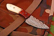 7INCH NEW RM CUSTOM DAMASCUS STEEL FULL TANG HUNTER SKINNER KNIFE CAMEL BONE 50