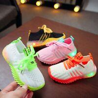 Kids Baby Boys Girls LED Light Running Sneakers Luminous Sport Trainer Shoes