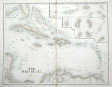 WEST INDIES, CARIBBEAN, BERMUDA, BRITISH ISLANDS, Fullarton antique map c1860