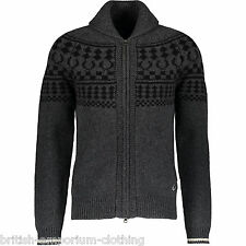 FRED PERRY Charcoal Grey Shawl Collar Zip-Up LAMBSWOOL Knit Cardigan BNWT XS