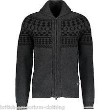 FRED PERRY grigio fumo Collo Sciallato Zip-Up Lana Knit Cardigan Nuovo con etichetta Xs