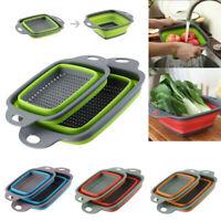 Kitchen Folding Draining Basket Fruit Vegetable Washing Colander Strainer Drain