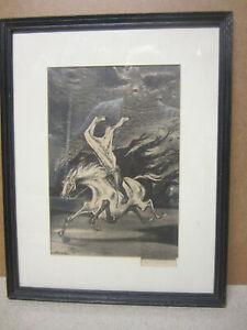 LISTED ARTIST WILLIAM GROPPER LITHOGRAPH PRINT FRAMED SIGNED HEADLESS HORSEMAN