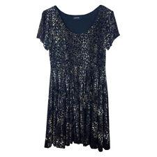 MINKPINK Womens Skater Dress Size Large Velvet Leopard Print Short Scoop Neck