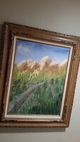 SPRING IN ALASKA OIL PAINTING Artist Signed Darlene View is Mountains, Trees