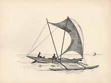 1936 SAILING PRINT ~ AN OUTRIGGER CANOE FROM CEYLON INDIA ~