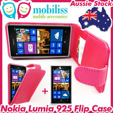 Nokia Lumia 925 Pink PU Leather Flip Case Cover Wallet Card Holder Screen Guard