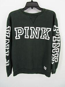 PINK Victoria's Secret Women XS Green Crewneck Pullover Sweatshirt Graphic Logo
