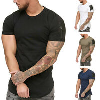 Mens Summer Casual Short Sleeve T-Shirt Pocket Tee Workout T-Shirt Tops 32