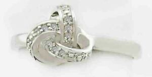 GENUINE 0.45 Carats DIAMONDS KNOT RING .925 Sterling Silver - Size 8
