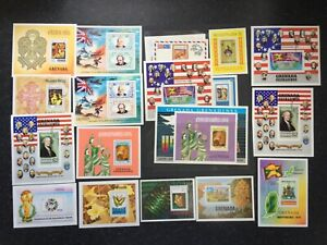 GRENADA-GRENADINES SOUVENIR SHEET COLLECTION x19 ITEMS - MINT & USED - (562)