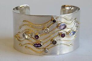 Michou Cascade Waterdance Rivulets Sterling & 22K Gold Vermeil Cuff Bracelet